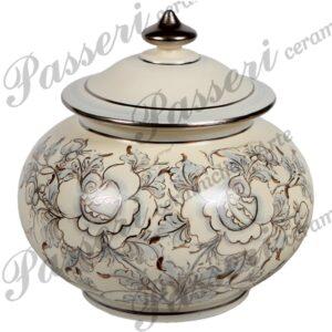 Scatola in ceramica interamente decorata a mano